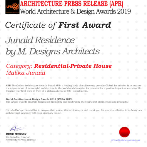 Winner of the World Architecture & Design Awards 2019