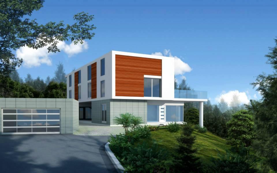 Cupertino modern wood facade, architecture, California, San Francisco