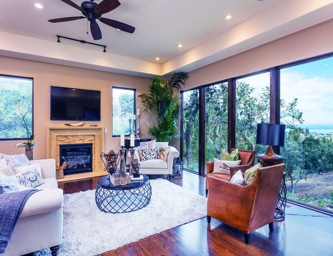 Family Room, sitting area, interior design, Los Altos Hills