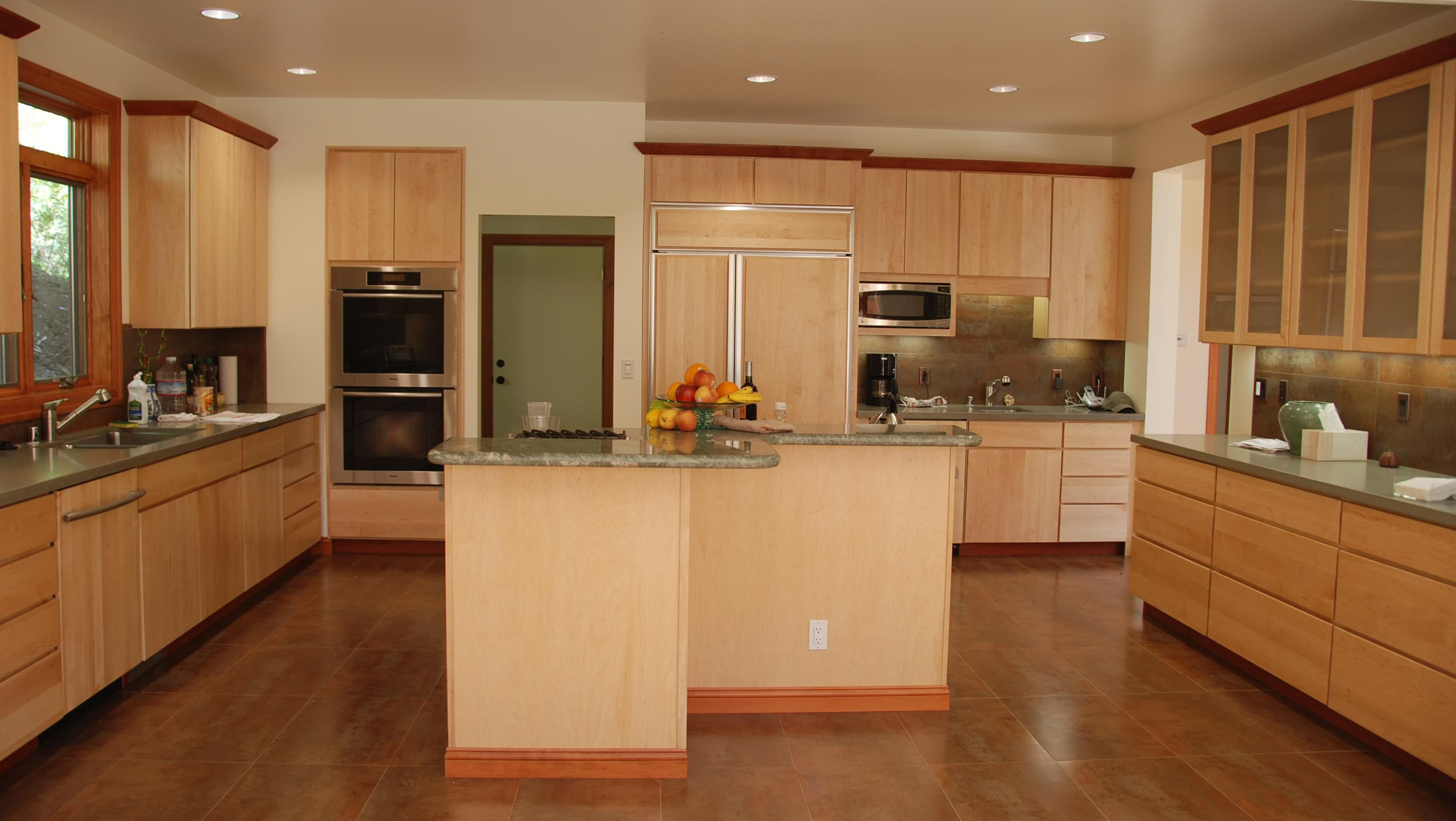 Island kitchen light brown cabinets, interior design, Menlo Park