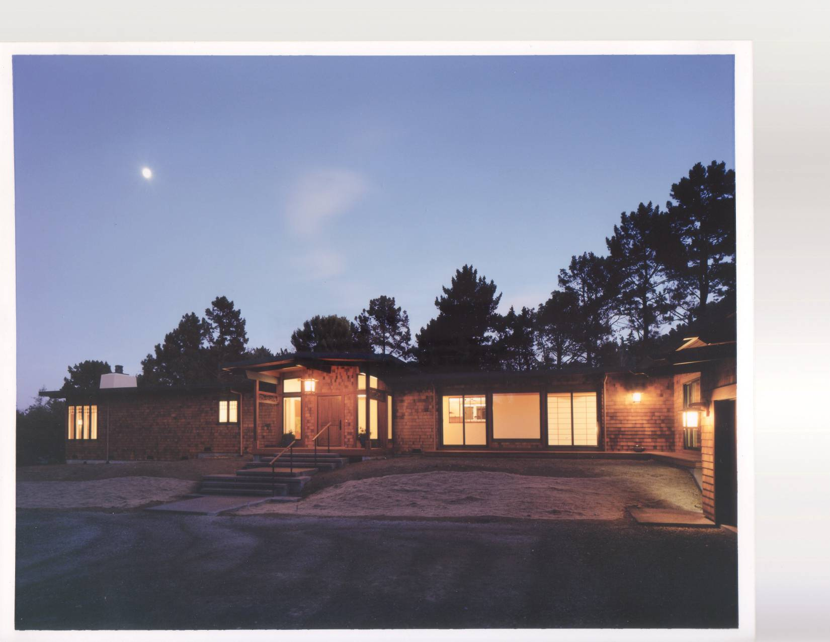 Japanese style home front facade, exterior design, architect work, Los Altos Hills