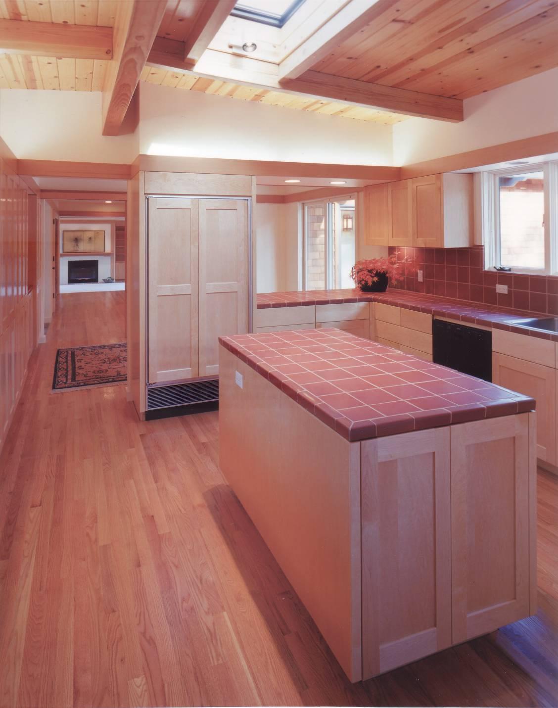 Japanese style kitchen with island light wood grain, interior design, best architect work, Los Altos Hills