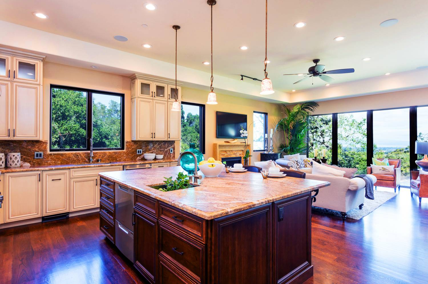 Kitchen Family Room, best interior design work, Los Altos Hills