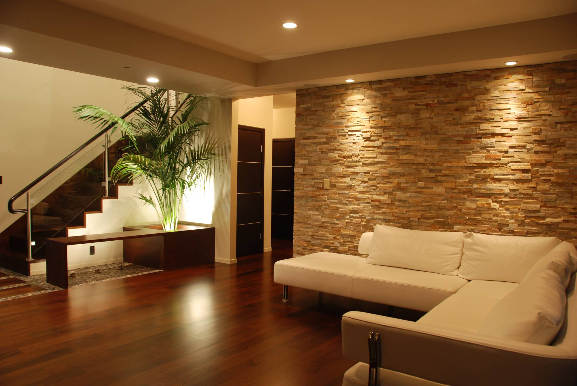 Living room stone wall, interior design, architect work, Los Altos