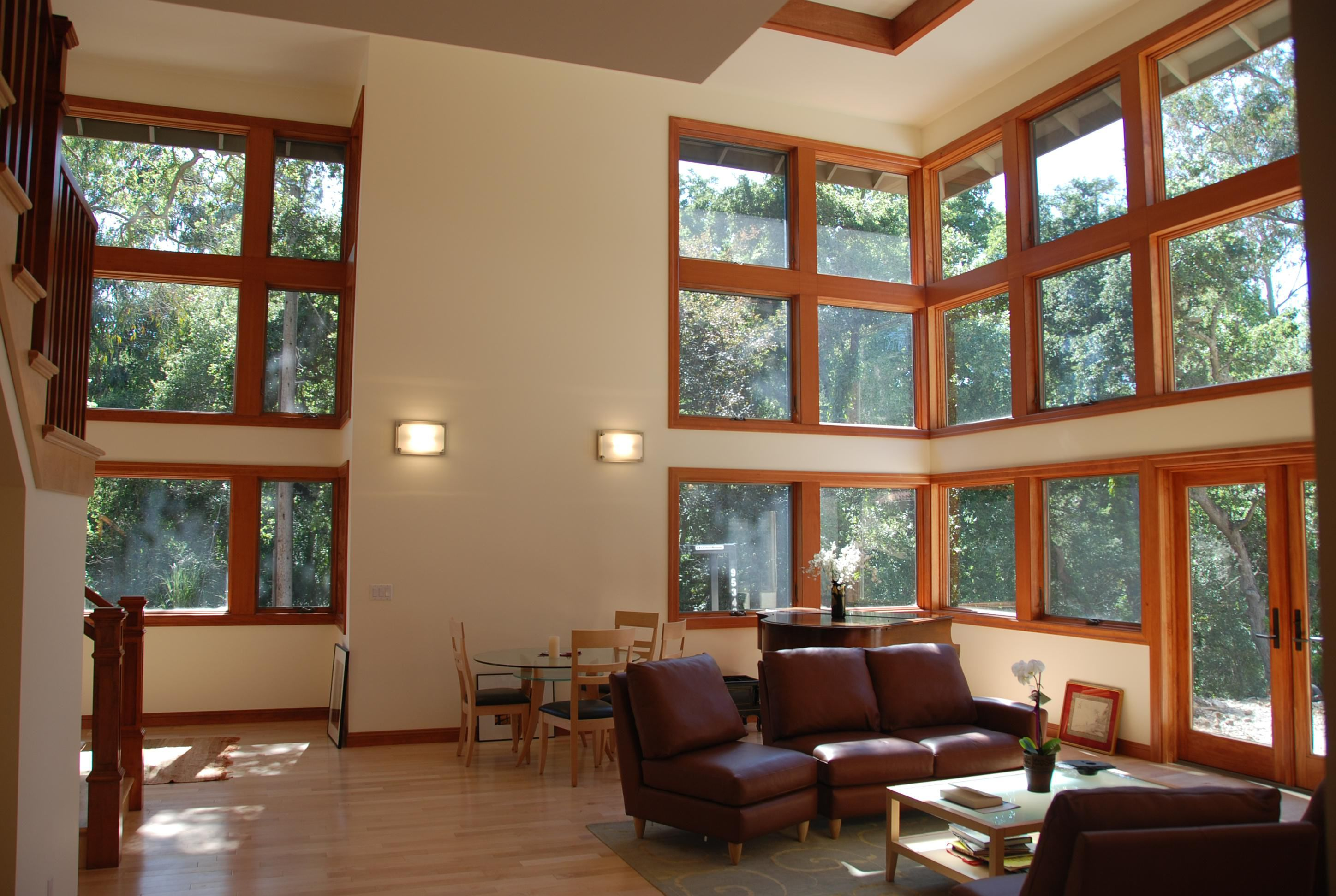 Living room with large windows with view, arctitect design work, Menlo Park