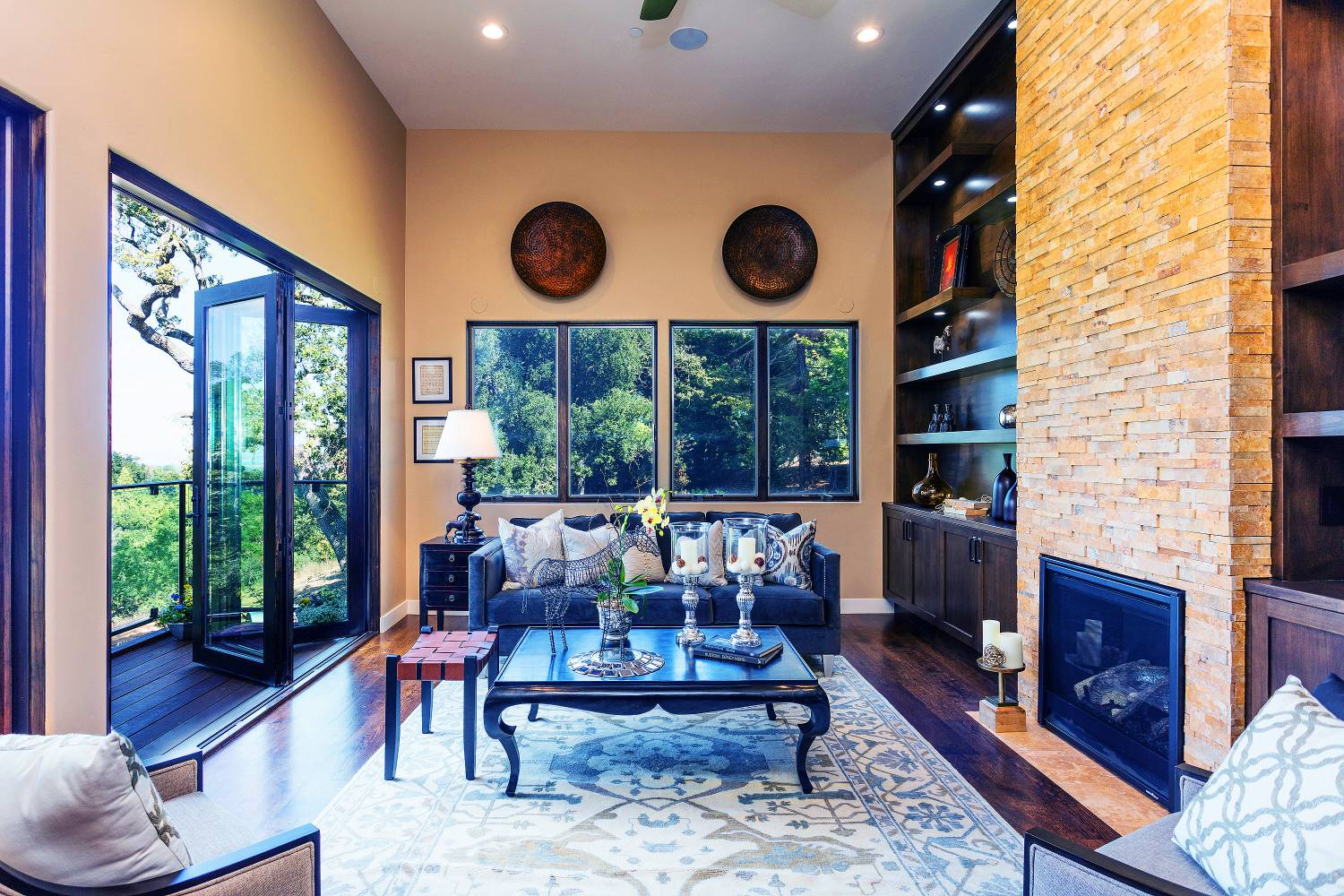 Living area, open window, interior design work, Los Altos Hills