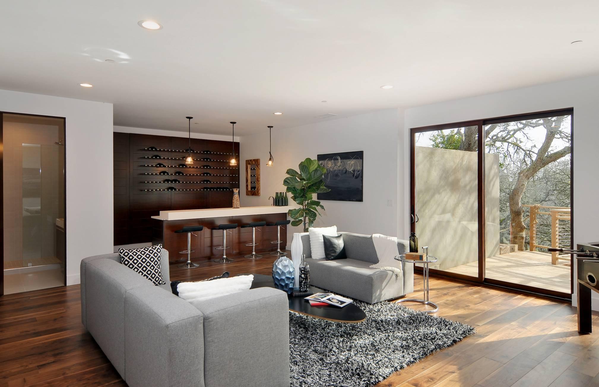 Los Altos Hills Basement bar seating area