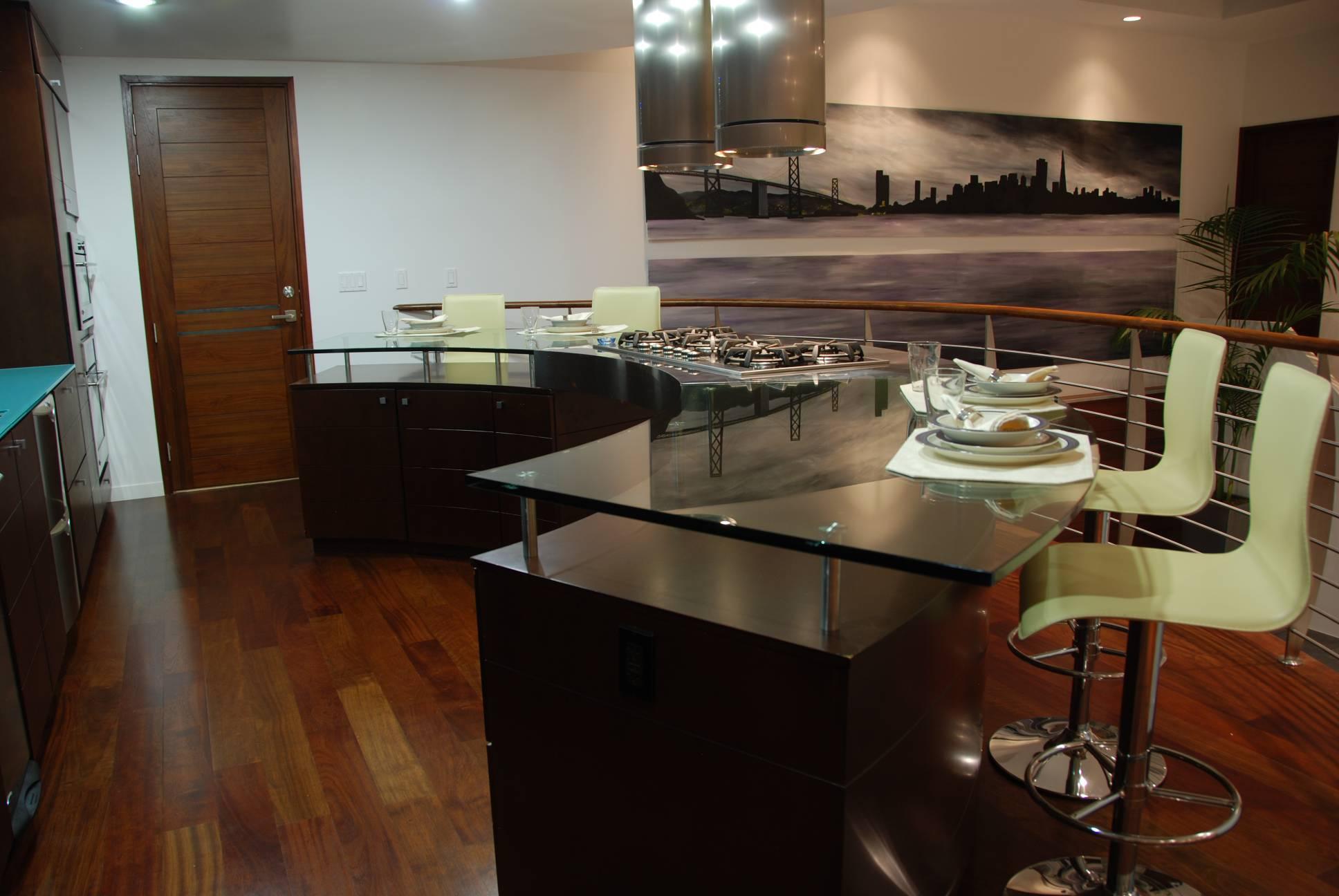 Modern home kitchen with bar stools, best interior design work, Los Altos