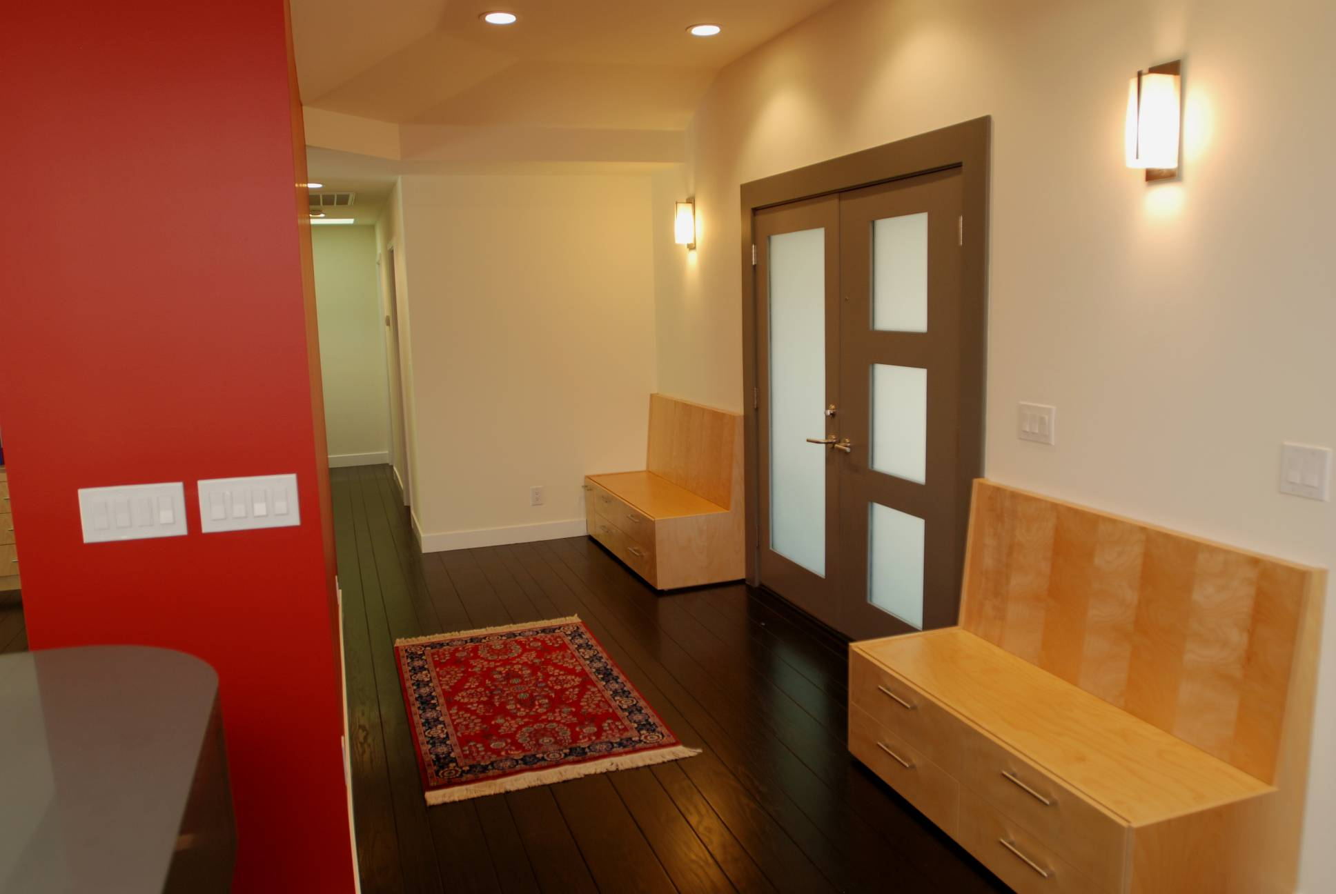 Main entryway benches storage, Architect design, interior design work, Menlo Park