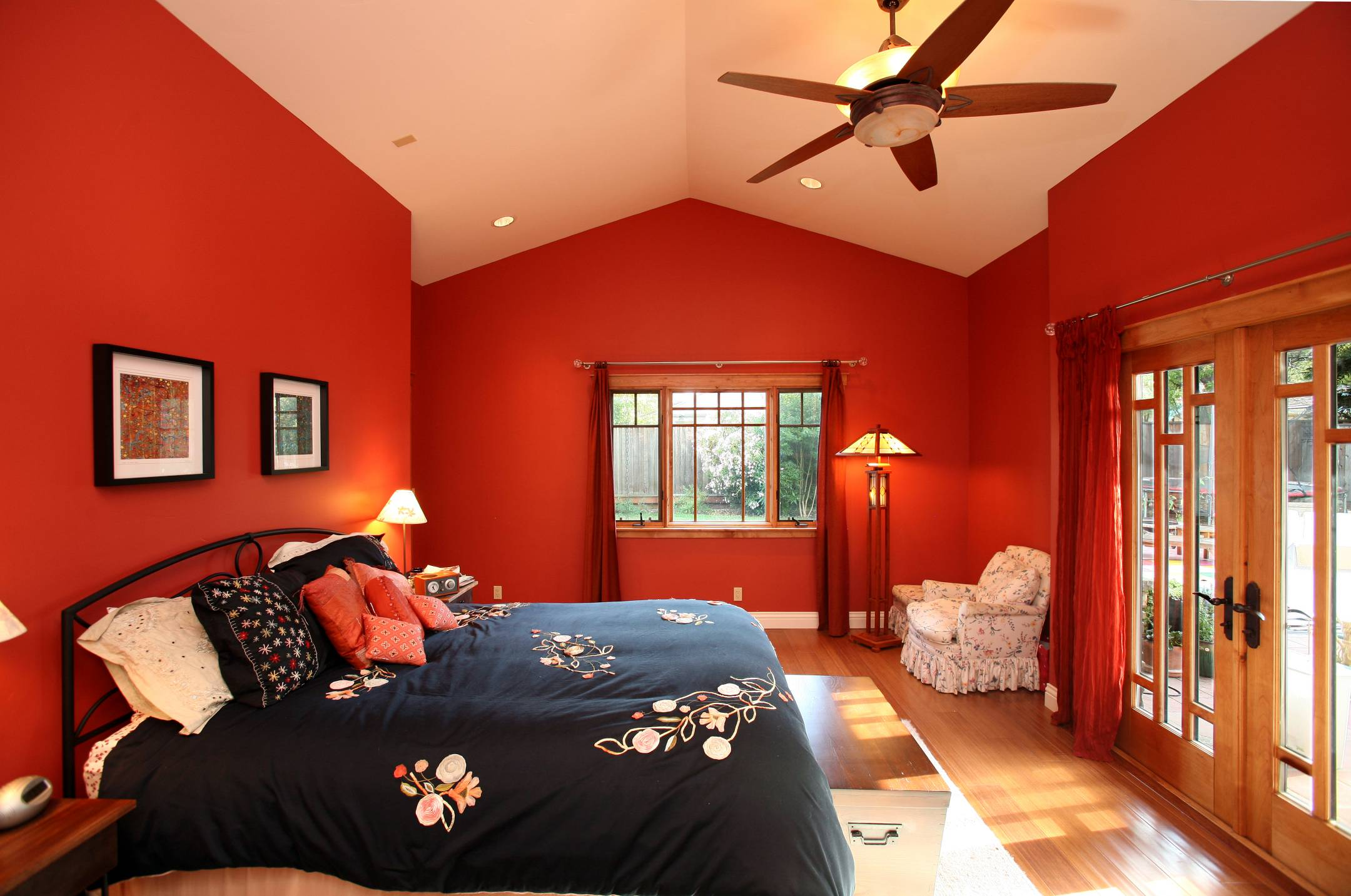 Master bedroom red walls backyard access, interior design, Los Altos