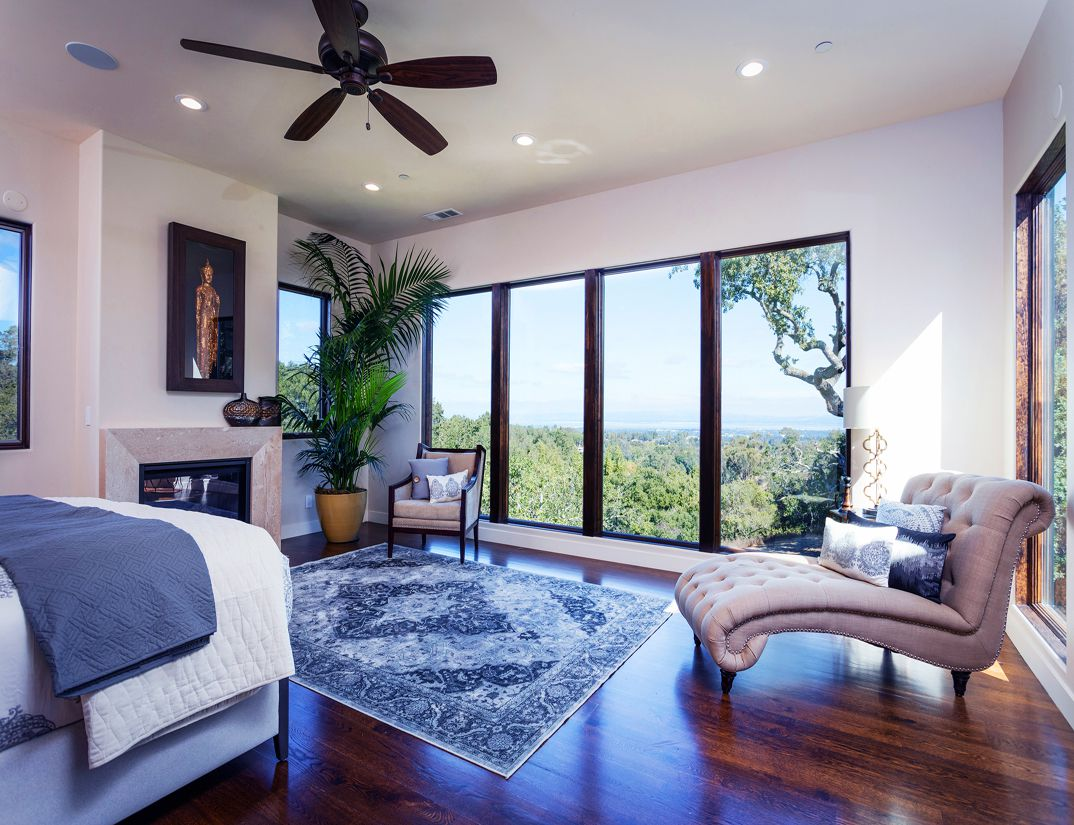 Master bedroom with a beautiful view, architect design, interior work, Los Altos Hills