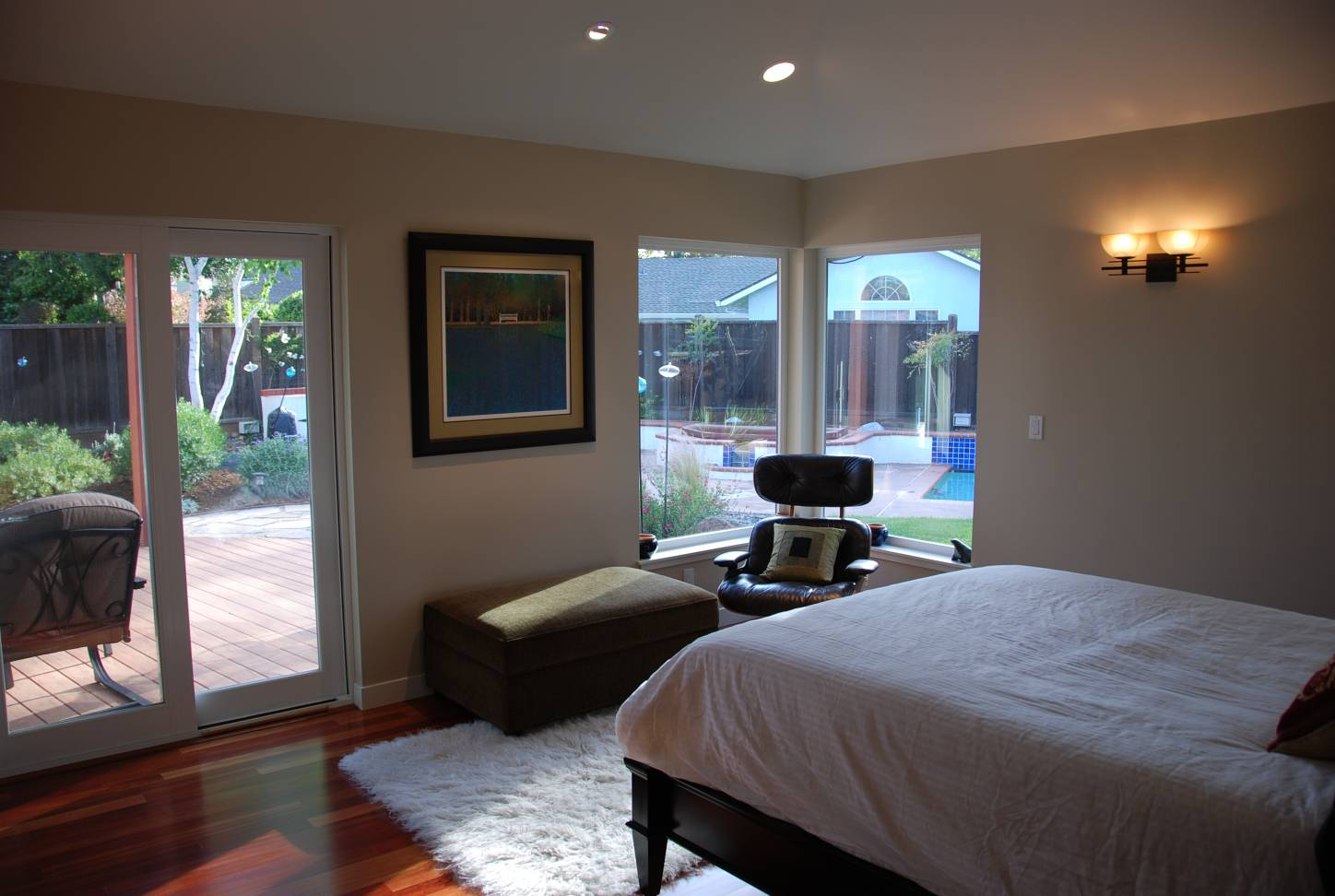 Master bedroom with backyard view and access, interior work, architect design, Mountain View