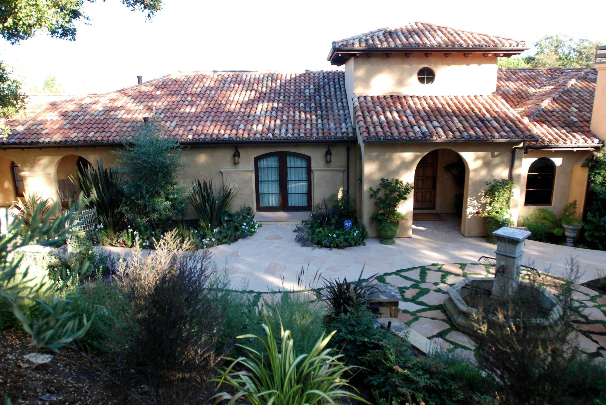 Mediterranean Fountain Courtyard, classical exterior design, Los Altos Hills