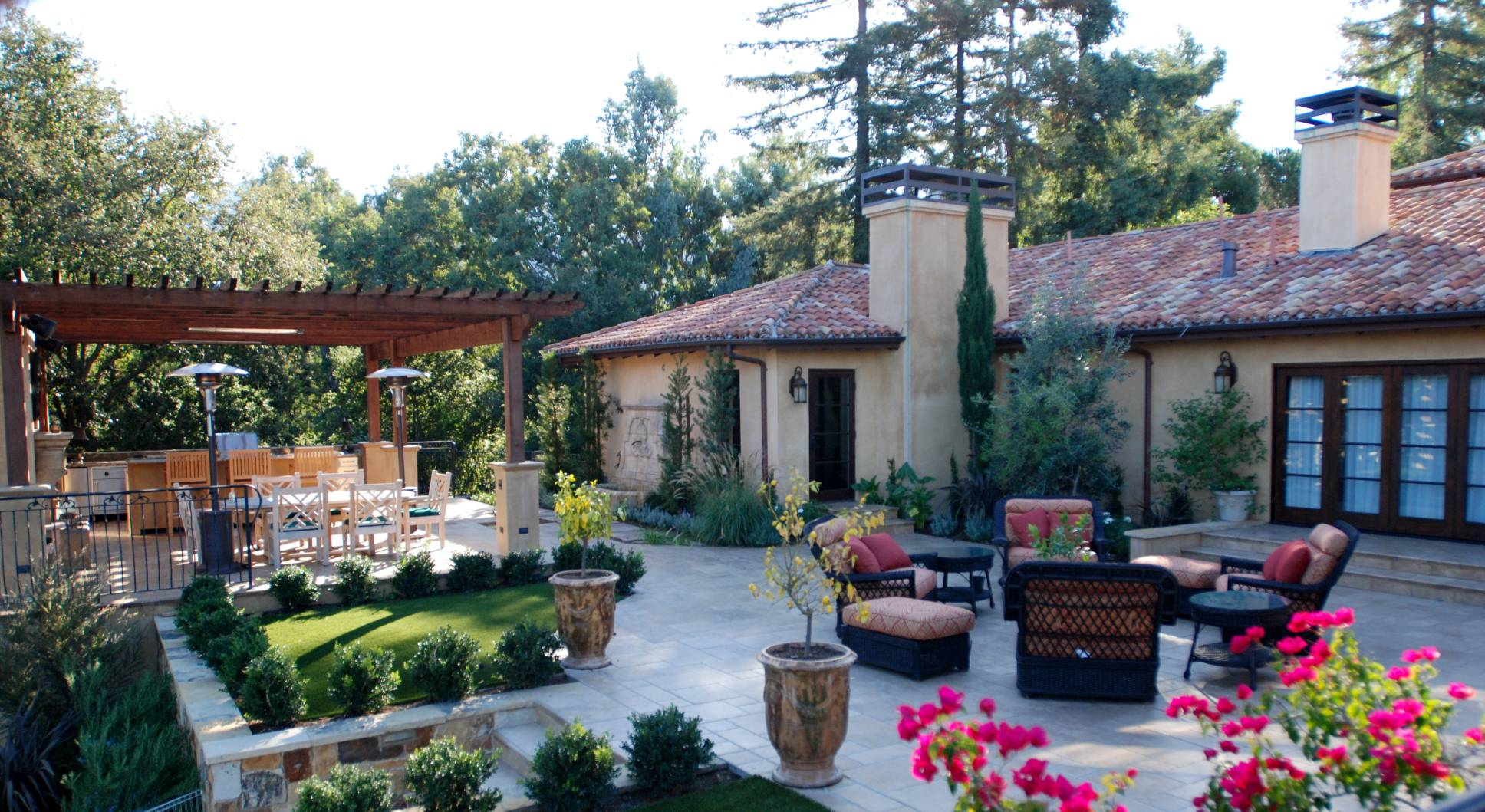 Mediterranian Outdoor Kitchen, best exterior, architect design work, Los Altos Hills
