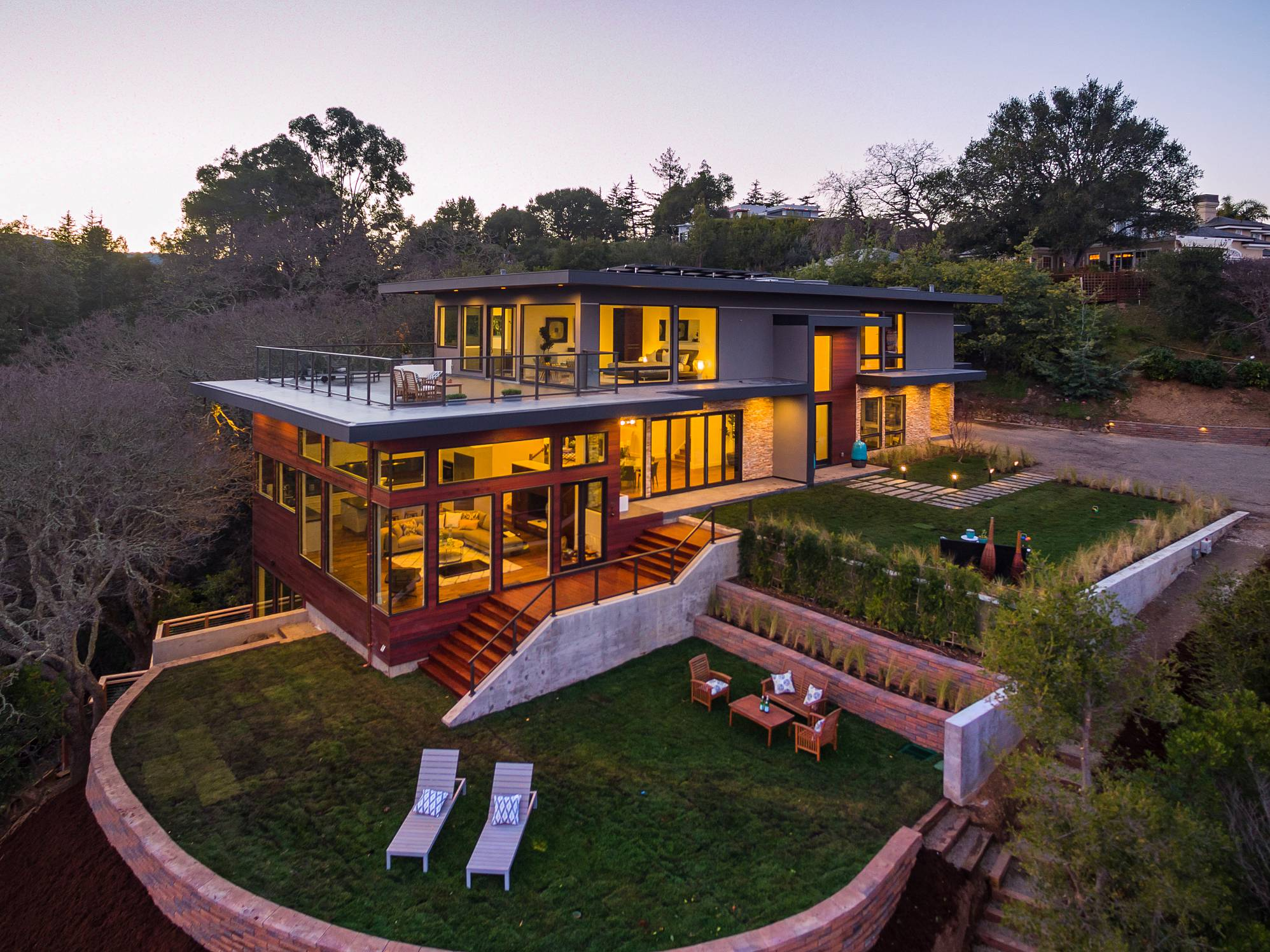 Modern home aerial panoramic iew