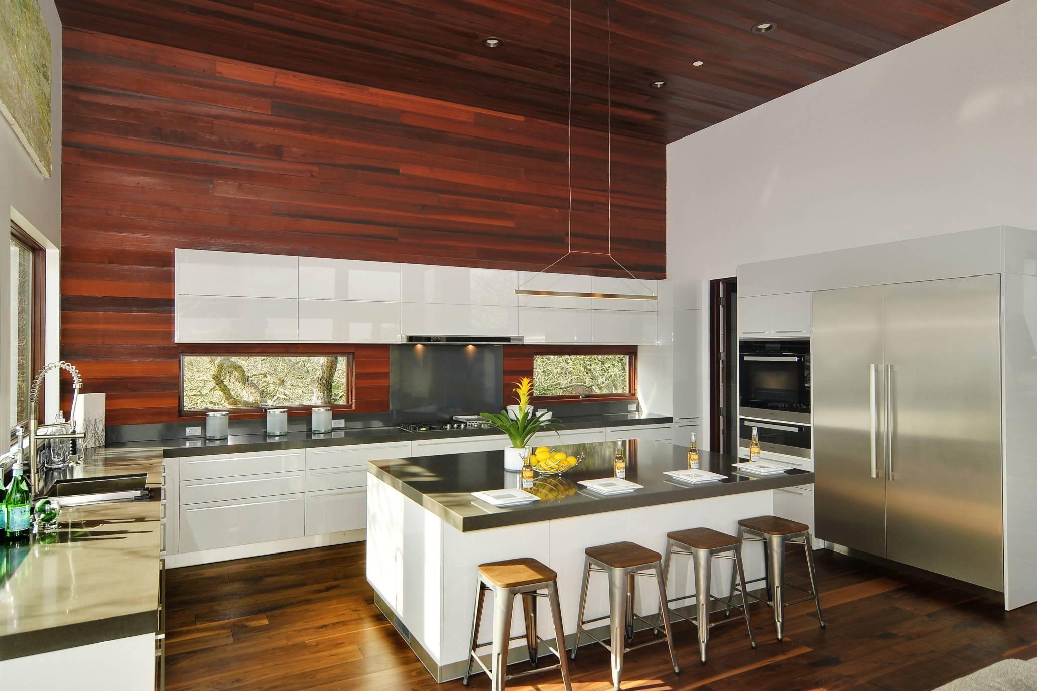 Modern kitchen bar stools grey countertops