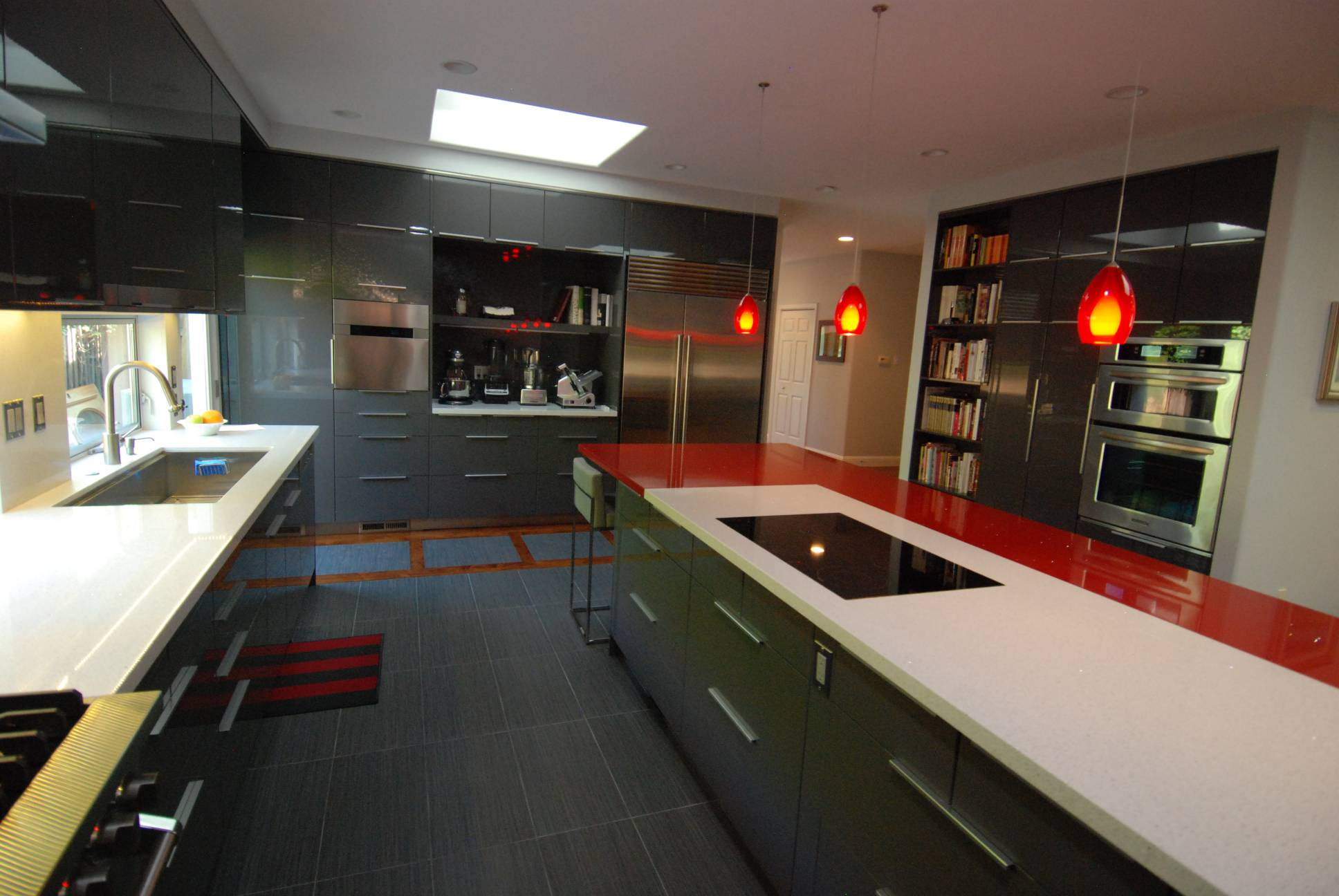 Modern kitchen grey countertops cabinetry hanging lamps, best interior design, Los Altos