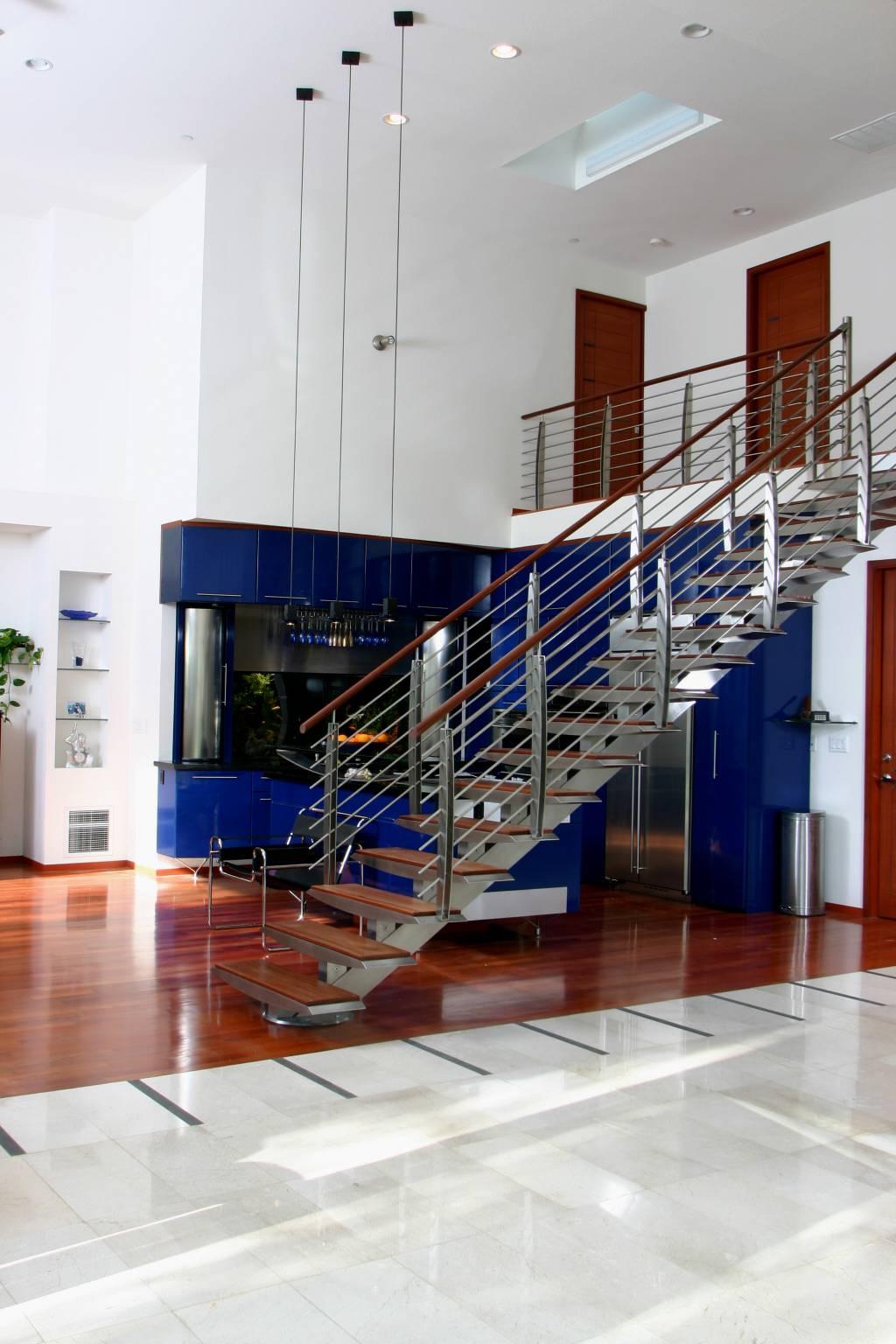 Modern wood steel staircase, interior design, Sunnyvale