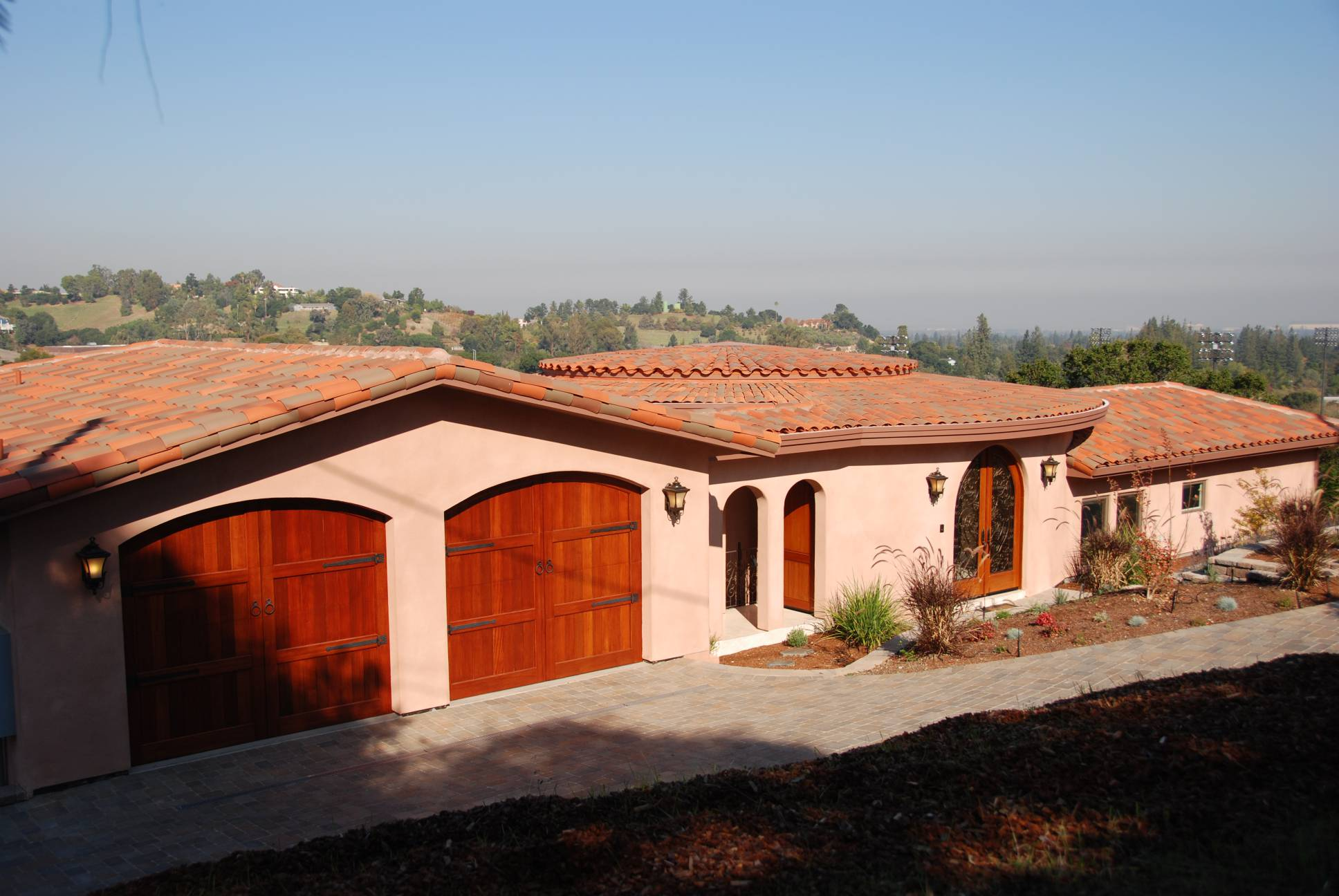 Spanish style carriage house doors, architect work, Los Altos Hills