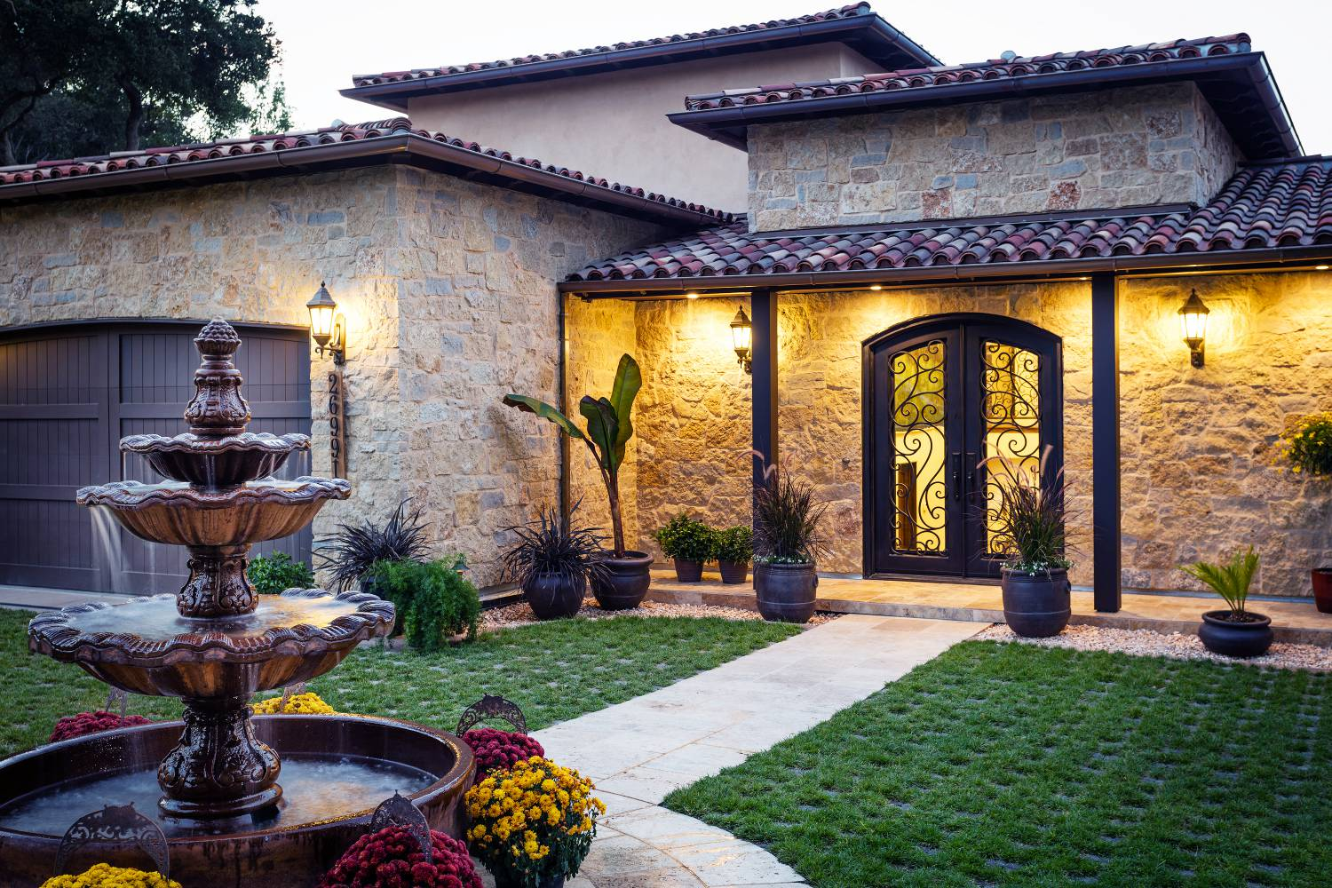 Twilight Entrance, exterior design work, Los Altos Hills