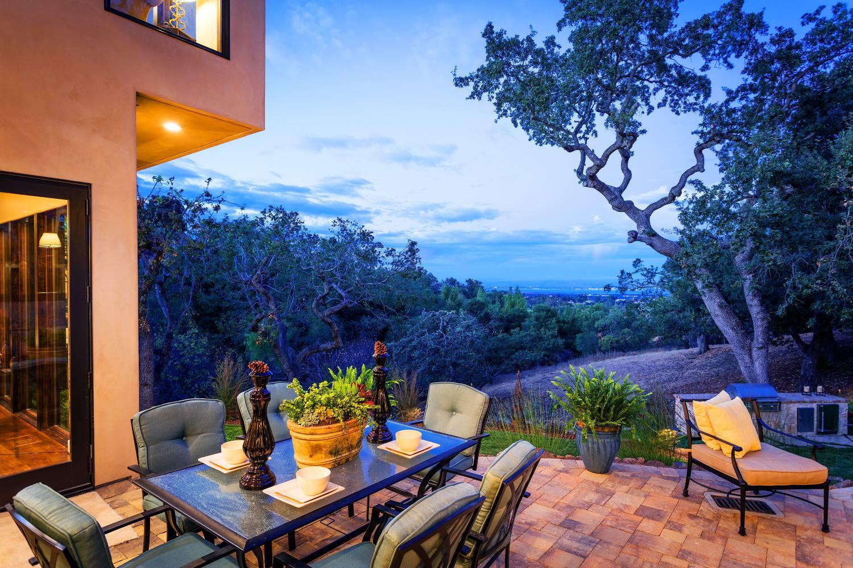 Backyard corner with view, exterior design, Los Altos Hills