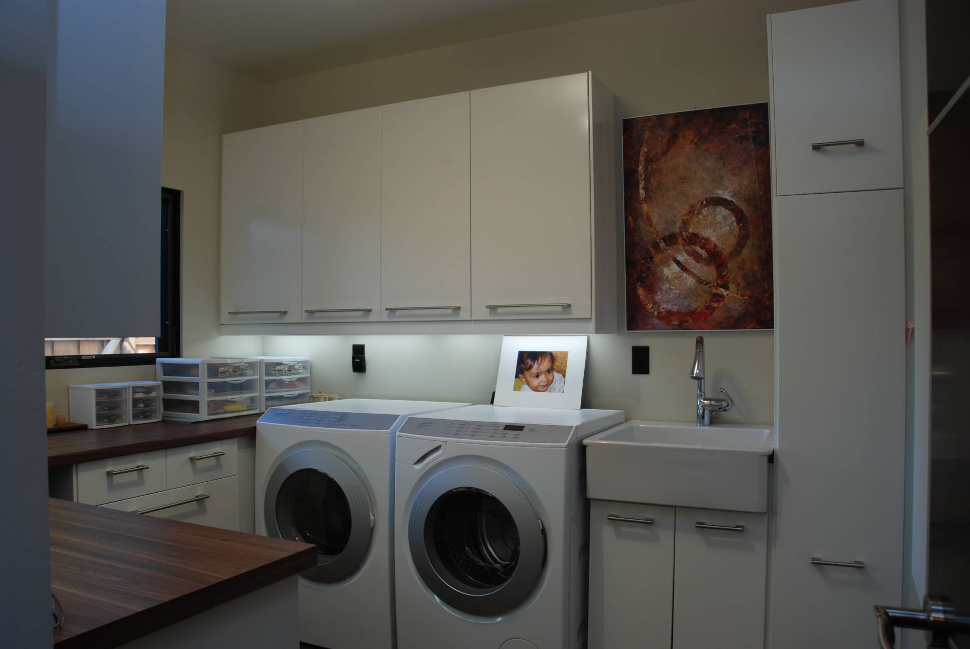 Utility washer dryer room storage, architect work, Los Altos