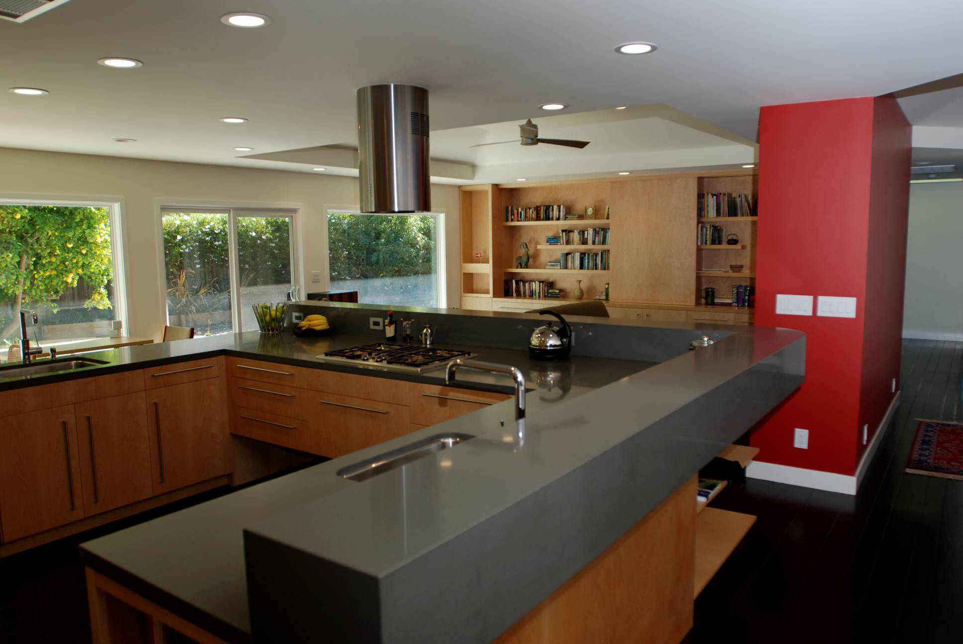 large kitchen with grey countertops wood cabinetry and view, Architect work, Interior design work, Menlo Park