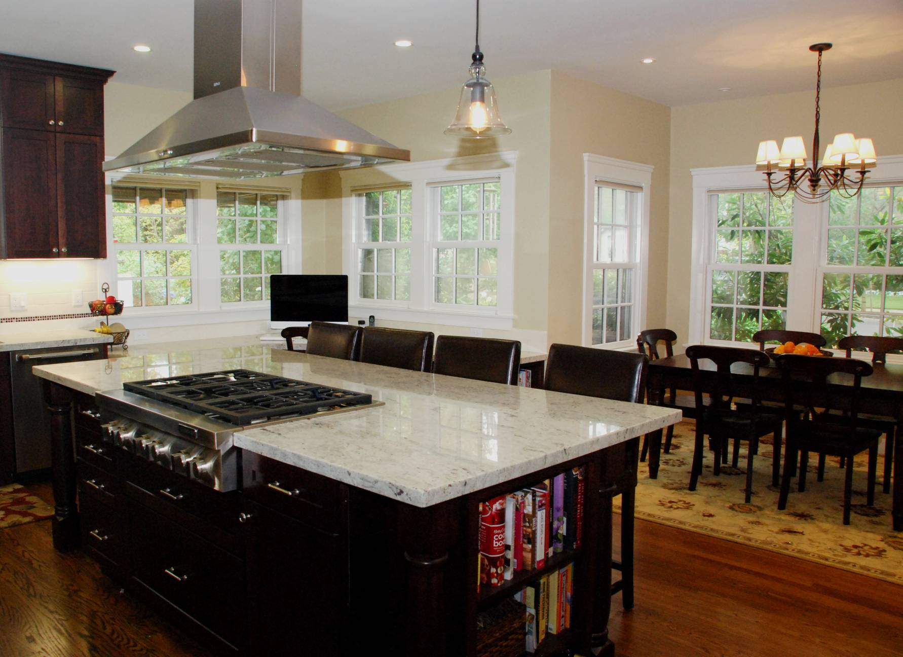 large kitchen with marble and dining area, Architect work, Interior design work, Palo Alto