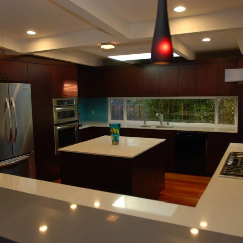 minimalistic large kitchen with white countertops, Interior work, Architect design, Mountain View