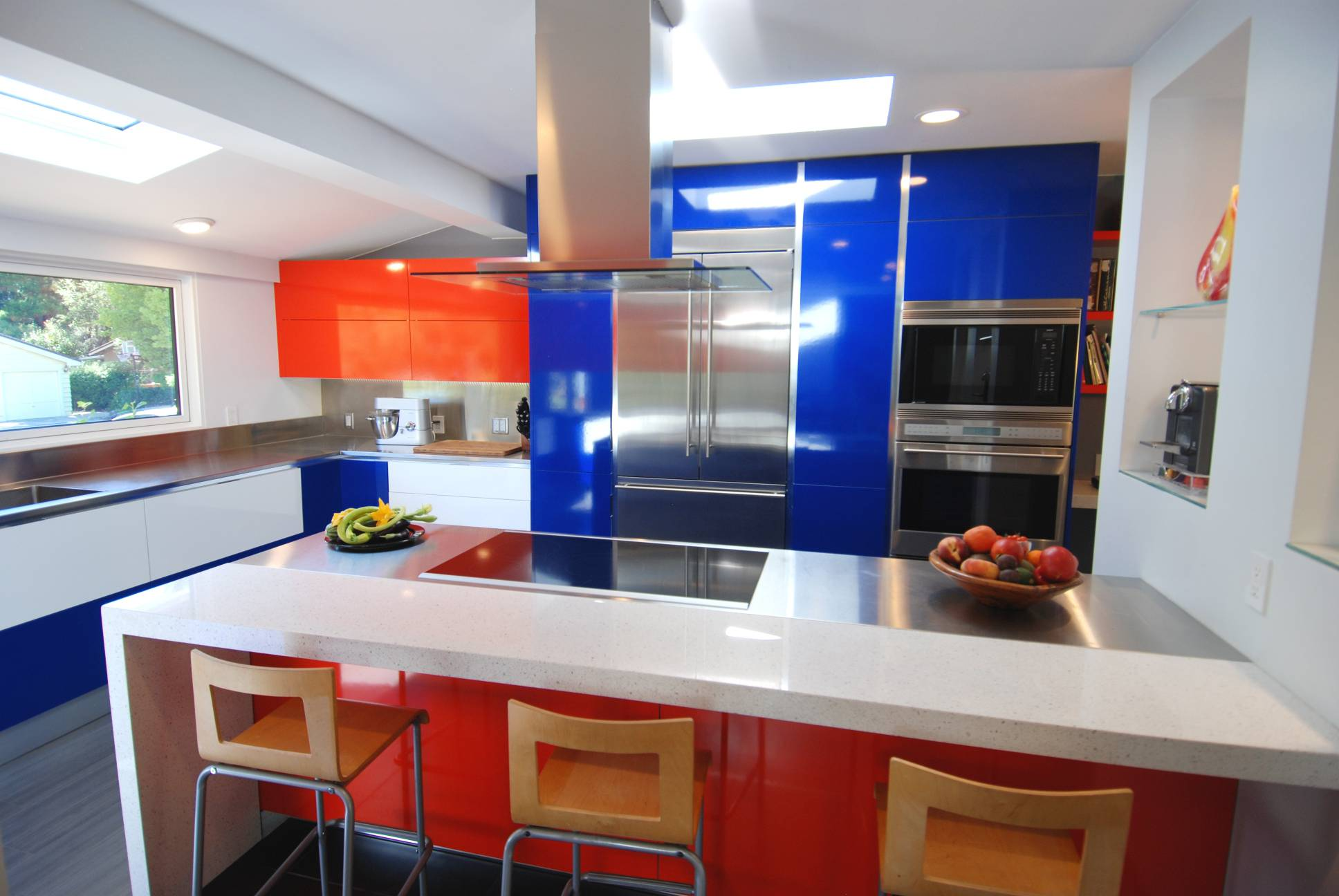 modern blue white orange kitchen with bar stools, interior work design, Los Altos