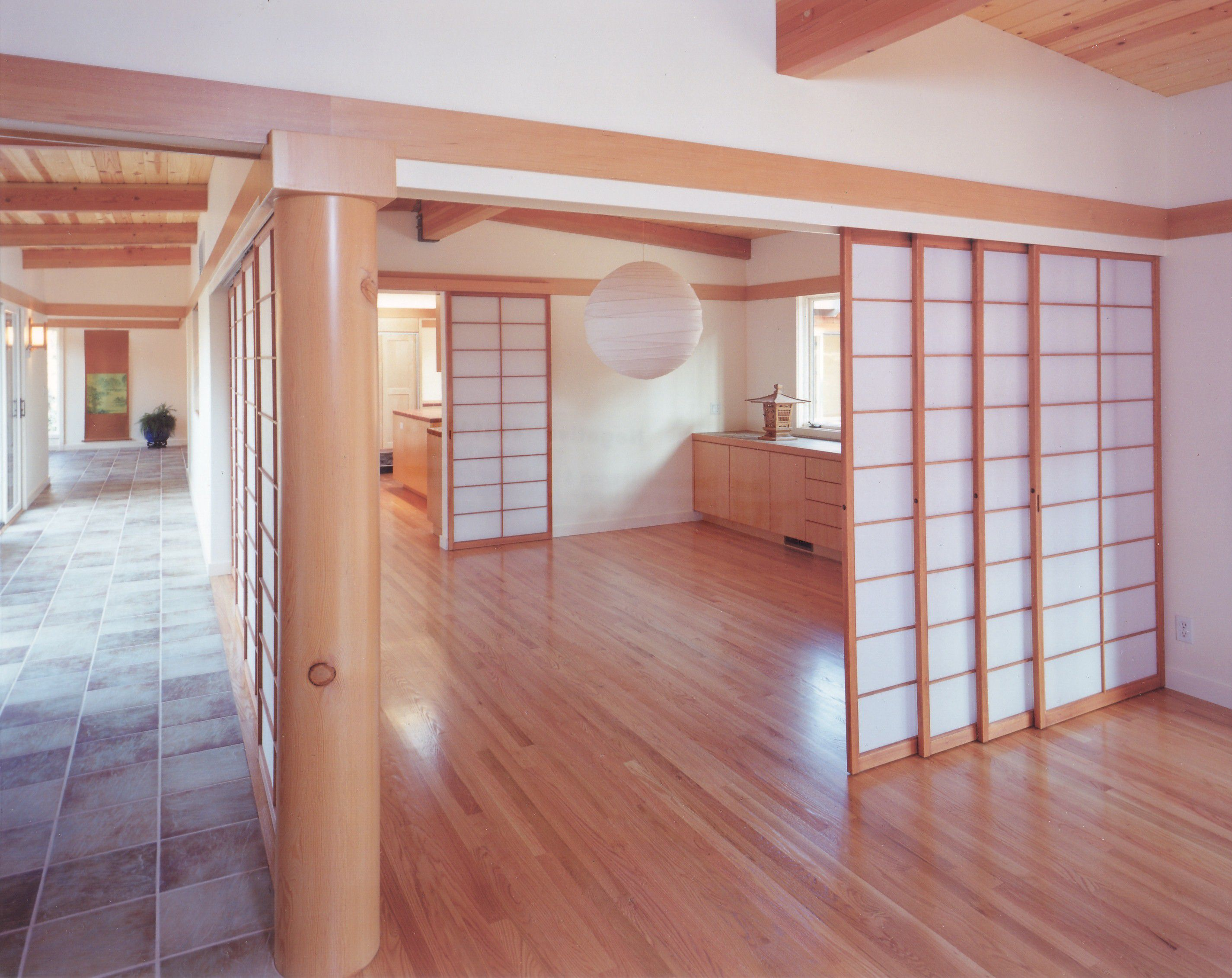 open concept Japanese style home opaque sliding doors, interior work, architect design, Los Altos Hills