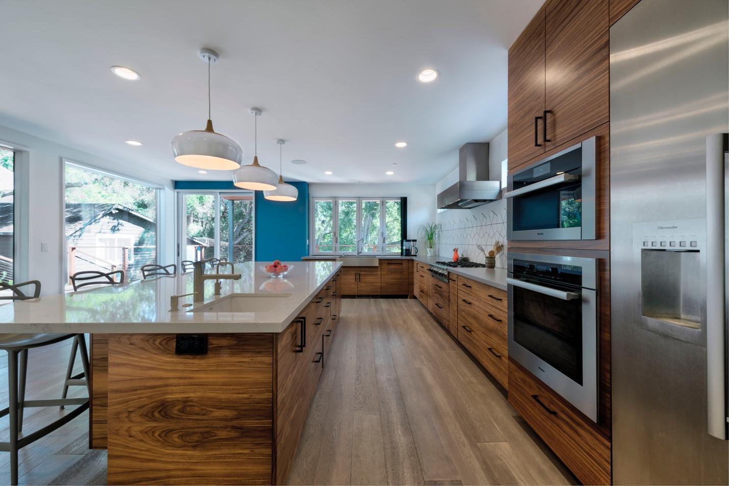 Wooden kitchen work, modern design,Mdesignarchitect, Dinning+Tv lounge design,Los Altos