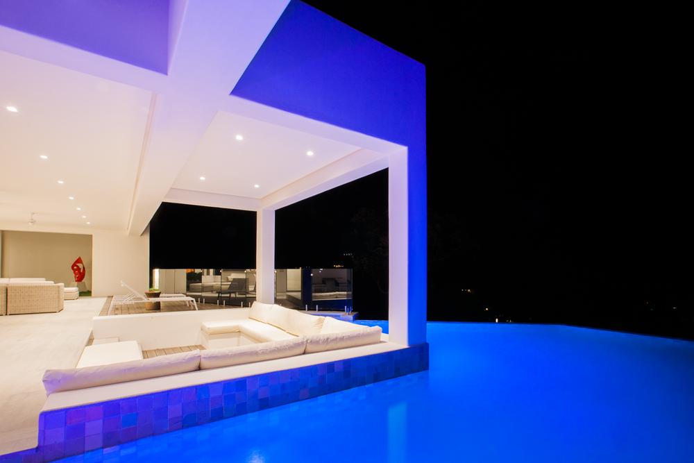 Modern large pool, exterior design, architect work, Acuarela Dream Residence