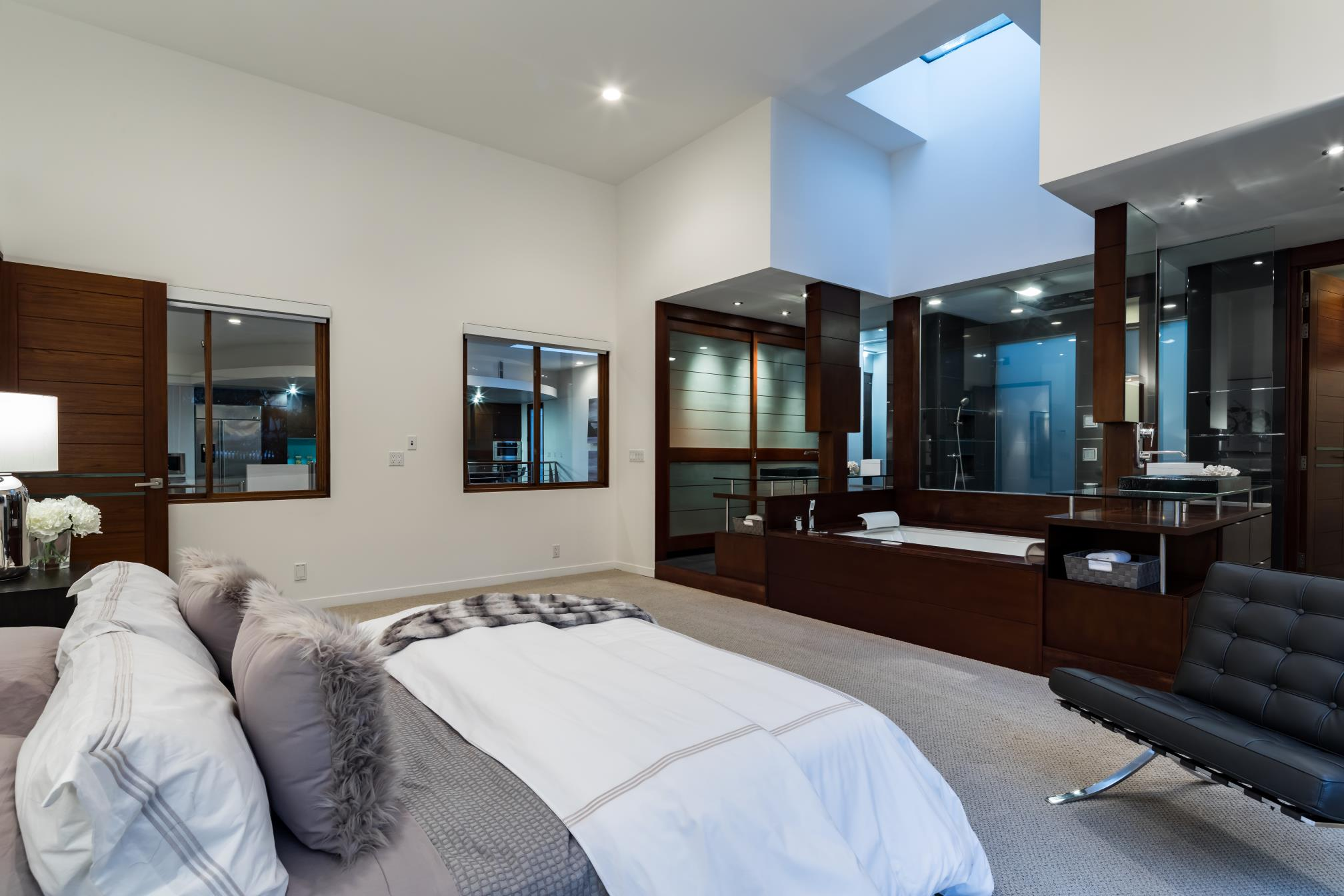 Modern Master bed room, interior design, Los Altos